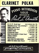 Clarinet Polka Paul L. Donath 1941 Vintage Accordion Sheet Music