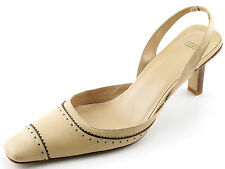 Worn Once Beige COACH Leather Slingback D'Orsay Heels Brogue Pumps 9.5 B ITALY