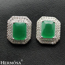 75% OFF Fine Green Emerald White Topaz 925 Sterling Silver Stud Earrings JXK016