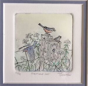 T CALLAHAN Signed Coloured Ltd Ed Etching FIRST ONE OUT Bird Box Chick 56/95