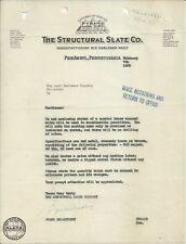 OLD VINTAGE STRUCTURAL SLATE CO. PENARGYL PENNSYLVANIA 1928 LETTER LETTERHEAD