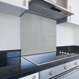 Toughened Painted Kitchen Glass Splashback - Bespoke Sizes - Grey Glitter