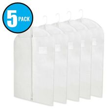 "40"" White Hanging Garment Bags with Zipper & Window for Suits & Dresses 5 Pack"