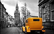 Incorniciato stampa-Black & White città vista con Taxi Giallo CABINA (foto poster arte)