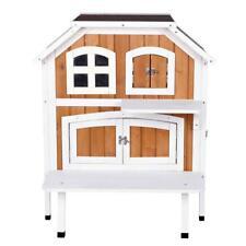 2 Story Wooden Cat Cottage Indoor Outdoor Weatherproof Pet Dog House Large Door