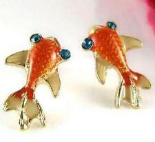 Marine Novelty Gold Plated Orange Goldfish Stud Earrings Blue Rhinestone Eyes