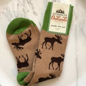 Socksmith Women's Outlands Boot Sock Moose Brown One Size Fits Most New