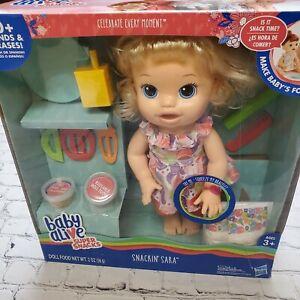 Baby Alive Super Snacks Snackin' Sara (HTF Version w Party Dot Dress) NIB/Sealed