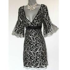 Vestido de fiesta tamaño 12 Reino Unido Karen Millen Plata Encaje Vintage años 60 una línea de Navidad