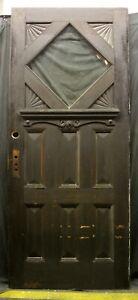 "38""x89""x2"" Antique Vintage Wood Wooden Exterior Entry Door Window Beveled Glass"