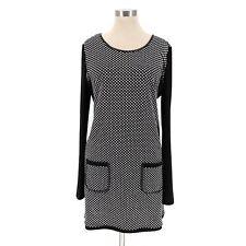 Joseph Ribkoff Womens Polka Dot Long Sleeve Tunic Mini Dress Size 14 Black White
