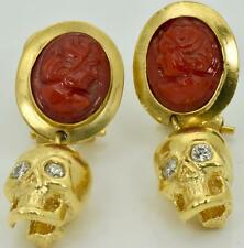 MUSEUM  Victorian Memento Mori Skull 18k Gold,Diamonds&Coral Cameo earrings.Box