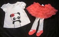Gymboree NWT White Panda Shirt Top Tutu MaryJane Tights Set 3-6 Months $52