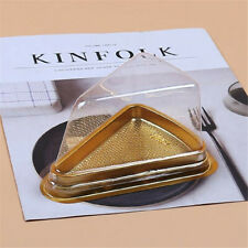 10PCS Triangular Clear Container Pot Pod Cake Cheese Pastry Box With Gold Base