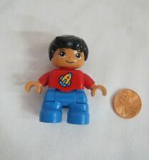 LEGO DUPLO ASIAN BOY BROTHER CHILD KID Red Spaceship Shirt FIGURE Rare