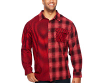 `Foundry men Big Tall Red Plaid Mashup Flannel shirt XLT 2XL 3XL 2XLT 3XLT 4XLT
