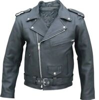 BRANDO STYLE QUALITY MENS ARMOUR MOTORBIKE MOTORCYCLE COWHIDE LEATHER JACKET