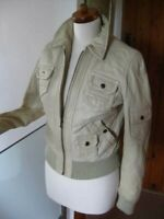 Ladies NEXT cream real leather JACKET COAT UK16 biker military bomber beige soft