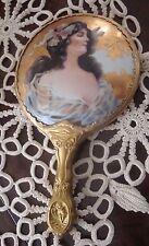 Vanity Gold Gild on Porcelain Lady Portrait Hand Mirror w Designed Handle