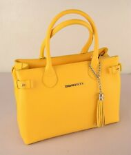 Di Gregorio 8529 Yellow Leather Barrel Bag 100% Made in Italy