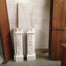 grande cheminée régence en marbre de carrare jambage sculptée  . XIX siècle .
