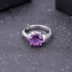 Round 2.66Ct Natural Purple Amethyst Ring For Women Real 925 Sterling Silver