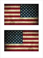 American USA Flag Left and Right Old Style Looking Decal Stickers FLG12
