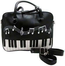 Black Leather Brief Bag W/Embroidered Music Notes & Keyboard Design