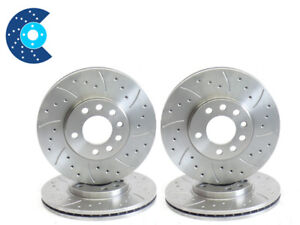 """9-3 2.0 Turbo Aero 02-04 302mm Front 292mm Rear Brake Discs Drilled Grooved 16"""""""