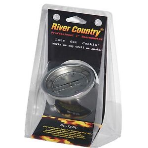 """3"""" RIVER COUNTRY RC-T3FC BBQ CHARCOAL GAS ELECTRIC GRILL SMOKER PIT THERMOMETER"""