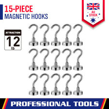 15Pc Strong Magnetic Hook 12LB / 5.5KG Rare Earth Neodymium Magnet Hanger Holder