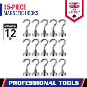 15Pc Strong Magnetic Hook 12LB / 5.5KG Rare Earth Neodymium Magnet Hanger Holder