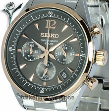 Seiko Quartz Bronze Dial Rose Gold Chrono With Stainless Steel Bracelet SSB068P1