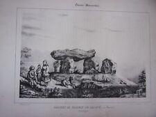 LITHOGRAPHIE 19ème GUIENNE MONUMENTALE  DOLMEN DU HAMEAU DU BLANC DORDOGNE