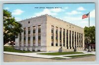 Meridian MS, Post Office, Linen Mississippi Postcard Z27