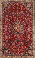 Vintage RED Floral Kashmar Hand-Knotted Area Rug Traditional Oriental Carpet 5x8