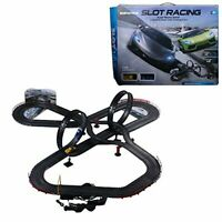 Racing Car Track Set 2 Slot Cars Controllers Loops Turns Racecar Play Fast Game