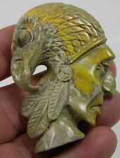 #10 134.85ct Natural Jasper Hand Carved Idian-Eagle Head Carving Pendant 26.95g