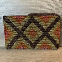 Beaded Clutch Purse Hand Bag Diamond Pattern Brown Tan Orange Pink.  Zip Close.