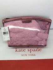 Kate Spade Sabine Medium Cosmetic Pouch Metallic Pink Saphire NWT WLRU5813