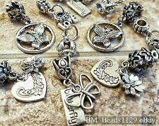 10PC Mixed Lot Butterflies Crown Hearts Flowers European Dangle Beads Charms