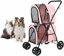 Pink Double Pet Stroller Dog Cat Animal Carrier Trolley Cart Buggy Pushchair