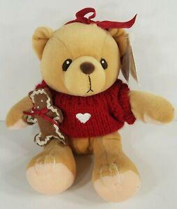 NWT Cherished Teddies plush bear w/ Christmas sweater & gingerbread man VTG 1999