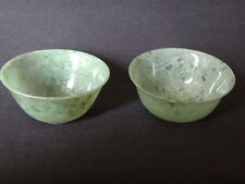 2 bols ancien en jade Chine pierre  Old chinese stone bowl jade spinach