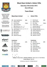 Teamsheet - West Ham United v Aston Villa 2013/14