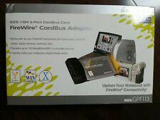 Iogear Ieee 1394 3 port cardbus card firewire cardbus adapter new Gpf113 w/cable