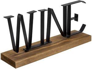 12 Inch Wine Black Metal Counter Top Decorative Letter Sign on Burnt Wood Base