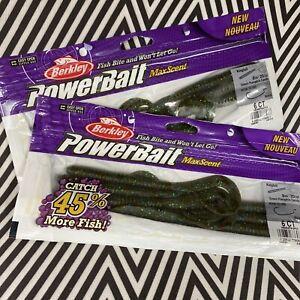 """2 Packs- Berkley MaxScent Powerbait 8"""" Kingtail - Green Pumpkin Candy"""