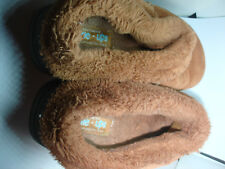 SKECHERS BROWN UPPER LEATHER FAUX FUR LINE SLIPPERS MULES SIZE 8 pre-owned
