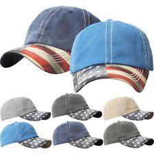 Vintage Washed BASEBALL CAP American Flag USA Low Profile Adjustable Hat